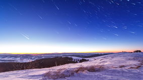 Sunset and stars at dusk in Carpathian mountain range. stock video