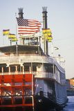 Sunset on the Steamboat Natchez on the Mississippi River, New Orleans, Louisiana Stock Photo