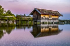 Sunset in Stegen with great lights. Sunset in Stegen with beautiful lights stock images