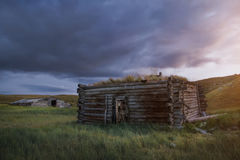 Sunset in the steppe, a beautiful evening sky with clouds, plato Ukok, no one around, Altai, Siberia, Russia. Royalty Free Stock Photo