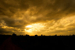 Sunset in steppe Royalty Free Stock Photos