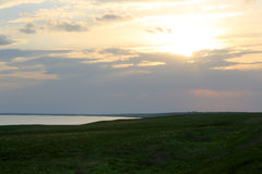 Sunset in the steppe near the salt lake Lopuhovatoe, Rostov regi Stock Photography