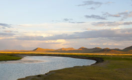 Sunset on the Steppes. Golden sunlight reaches the small hills in the Mongolian steppes Stock Images