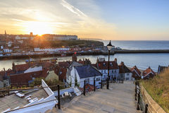 Sunset from the 199 steps at Whitby. Royalty Free Stock Images