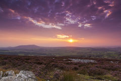 Sunset from Stiperstones Ridge to Cordon Hill Stock Image