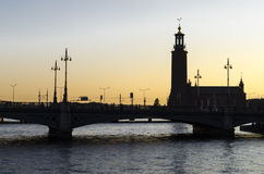 Sunset in Stockholm Royalty Free Stock Photos