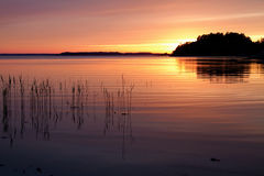 Sunset in Stockholm`s archipelago. Sunset with beautiful colors in Stockholm`s archipelago royalty free stock images