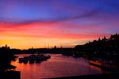 Sunset Stockholm, Sweden. Colourful sky by the Royalty Free Stock Images