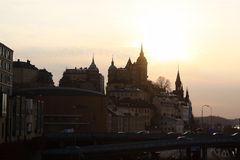 Sunset in Stockholm, Sweden. Travel in Stockholm, Sweden. across the bridge. beautiful harbour/ scene. sightseeing in Europe. sunset Stock Photo