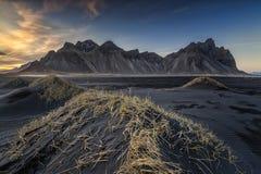 The golden dunes. Sunset in stokksnes