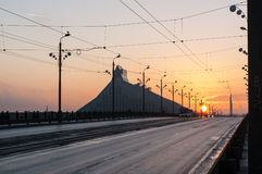 Sunset on the Stone bridge Akmens tilts in Riga Royalty Free Stock Images