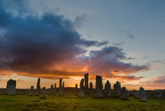 Sunset with Stone circle. Megalithic stone circle of 3000 bc on the Isle of Lewis and Harris, Outer Hebrides, Scotland at sunset Stock Photos