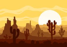 Sunset in stone desert  with cactuses and mountains. Royalty Free Stock Photography