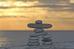 Sunset Stone Inukshuk Royalty Free Stock Images