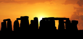 Sunset in the Stonehenge stock photography