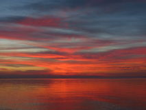 Sunset on storage reservoir Stock Photo