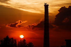 Sunset with storks on the chimney. Factory chimney with the storks on nest at sunset Royalty Free Stock Images