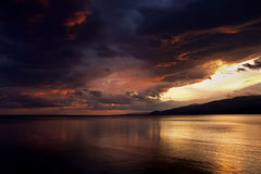 Sunset After Storm at Akcay,Turkey Royalty Free Stock Photography