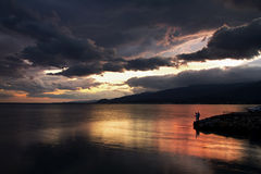 Sunset After Storm at Akcay,Turkey Stock Photography