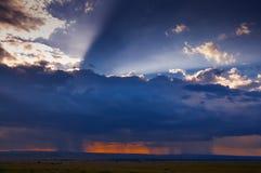 Sunset with storm at masai mara Stock Photos