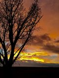 Sunset before the storm. Montrose, Colorado winter Stock Images