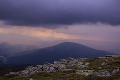 Sunset before the storm in the mountains Stock Photography