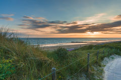 Sunset and Stormclouds at the dutch coast , Netherlands Royalty Free Stock Image