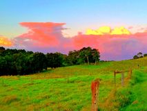 Sunset and a storms coming. Australia farm green grass Stock Image