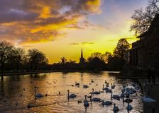 Sunset at Stratford on Avon, England. The River Avon and The RSC Theatre at sunset Stock Photos