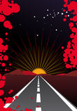 Sunset street. Vectorial designed by Freehand Mx Stock Images