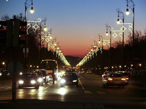 Sunset on street in budapest. With beautiful lights Royalty Free Stock Photos