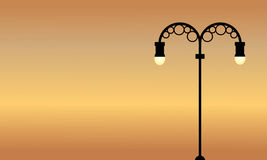 At sunset street lamp scenery vector art. Collection vector illustration