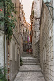 Sunset Street. Narrow street in Korčula during sunset Stock Photography