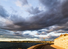 Sunset on the streets of Porec Royalty Free Stock Images
