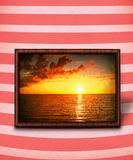 Sunset on stripy background Royalty Free Stock Image