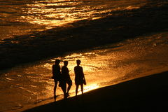 Silhouettes walking on the beach at sunset. Silhouettes of three people walking on the beach at sunset Stock Photography