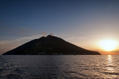 Sunset at Stromboli islands Stock Image