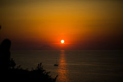 Sunset with Stromboli, photographed from Tropea Stock Images
