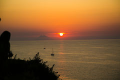 Sunset with Stromboli, photographed from Tropea Royalty Free Stock Photos