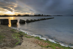 Sunset at Studland tank defence Royalty Free Stock Photography