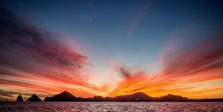 Sunset with a stunning beautiful sky above the city of Cabo San Lucas. Mexico. Sea of Cortez. Stock Photography