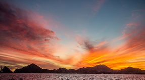 Sunset with a stunning beautiful sky above the city of Cabo San Lucas. Mexico. Sea of Cortez. Royalty Free Stock Photography
