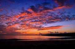 Sunset with beautiful sky above the sea. Royalty Free Stock Image