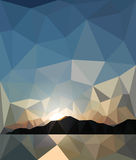 Sunset in the style of origami. Sea Stock Photos