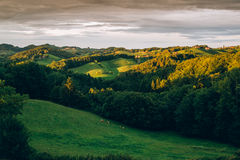 Sunset in the styrian hills Royalty Free Stock Images