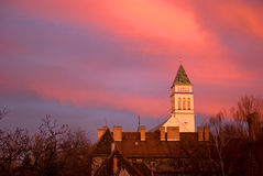 Sunset in the suburb, Budapest, Hungary Royalty Free Stock Images