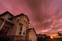 Sunset in Suburban Neighborhood Homes Stock Photography