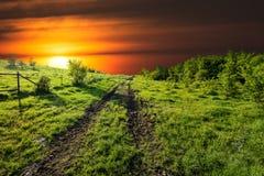 Sunset on Sugar Ridge Road, Ennis, TX Royalty Free Stock Photography