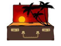 Sunset in suitcase Royalty Free Stock Image