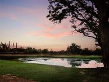 Sunset at Sukhothai Historical Park Royalty Free Stock Photo